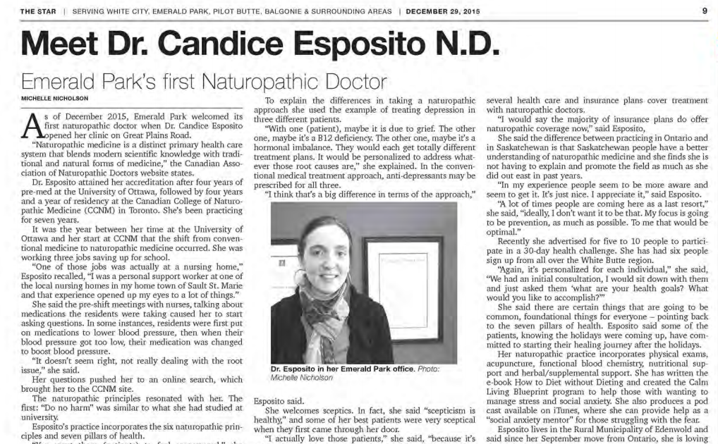 emerald park naturopathic doctor article